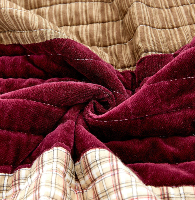 DaDa Bedding Crisp Flannel Warm Tones Cotton Velveteen Patchwork Bedspread Set (JHW-955)