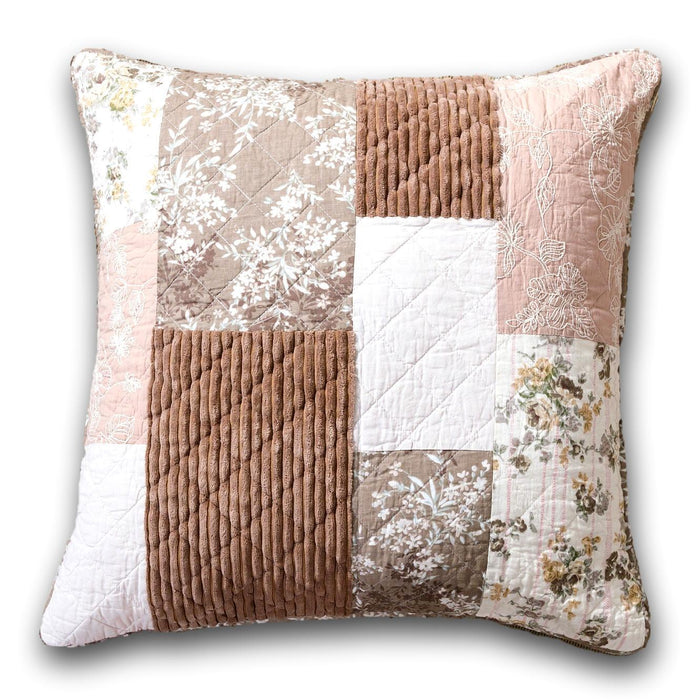 "DaDa Bedding Vintage Patchwork Muted Dusty Rose Pink & Brown Floral Euro Pillow Sham Cover, 26"" x 26"" (JHW866)"