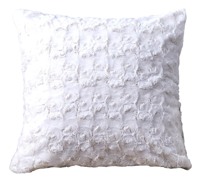 "DaDa Bedding Faux Fur Throw Pillow Cover, Luxury White Roses Swirls - 18"" x 18"" (K11)"