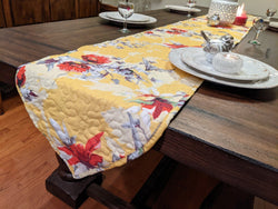 DaDalogy Bedding Sunshine Yellow Floral Vintage Hummingbirds Garden Table Runner (925)