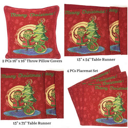 Table Linen - DaDa Bedding Set of 8 Pieces Red Santa Claus Holiday Table Tapestry - 4 Placemats, 2 Table Runners, 2 Throw Pillow Covers (17615) - DaDa Bedding Collection