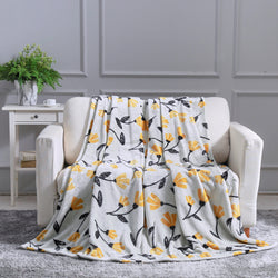 BLANKET - DaDa Bedding Soft Fleece Throw Blanket, Fresh Sunshine Yellow Fleur Floral Silver/Grey Background (XY1011) - DaDa Bedding Collection