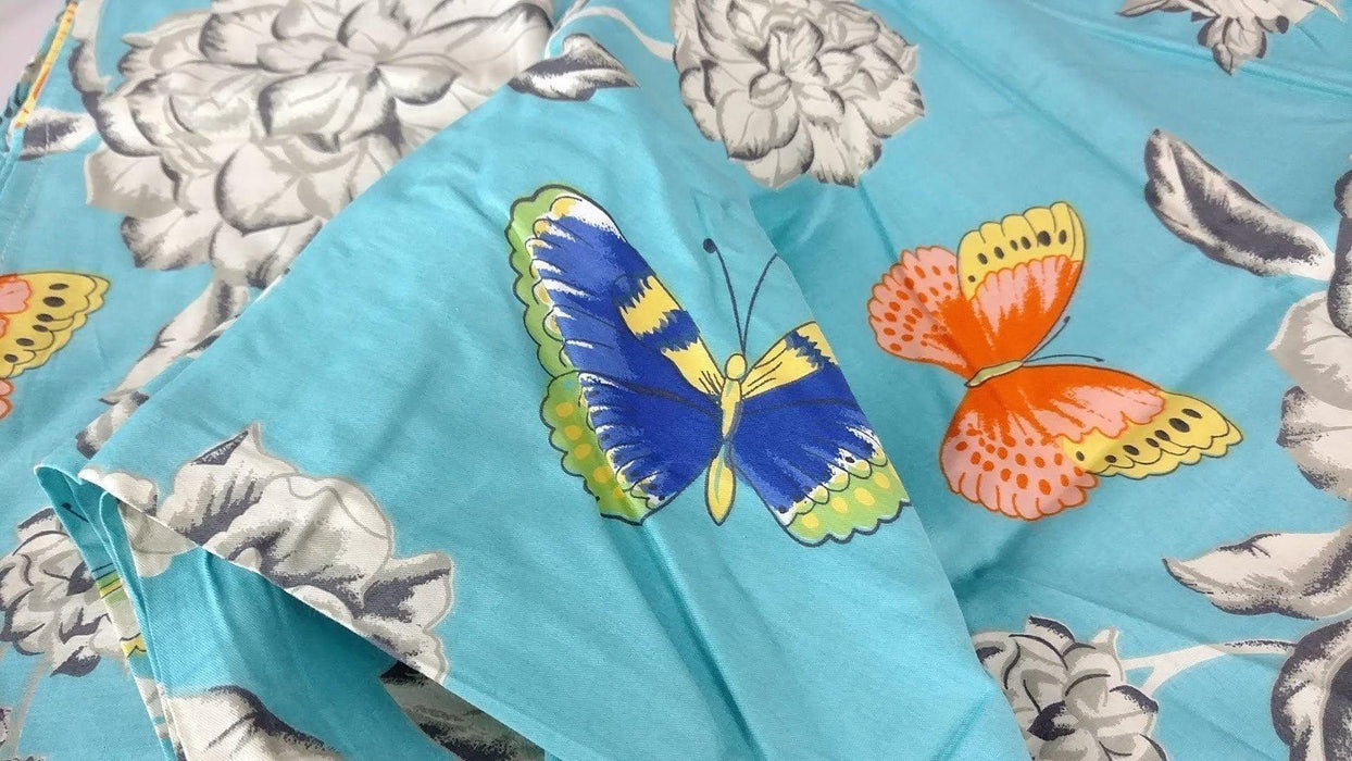 Bed Sheet - Tache 2-3 PC Cotton Butterfly Wonderland Blue Floral Colorful Girly Flat Sheet Set - DaDa Bedding Collection