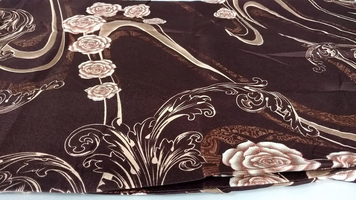 Bed Sheet - Tache 2-3 PC Melted Gold Brown Rose Pink Floral Fitted Sheet Set - DaDa Bedding Collection