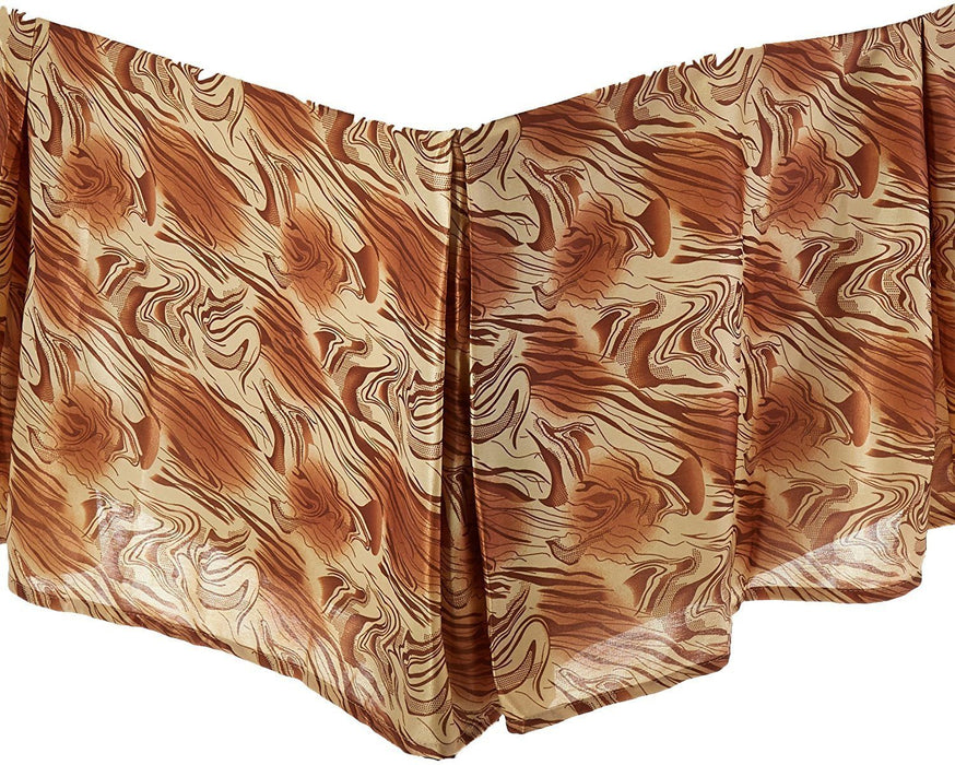 "BEDDING ACCESSORIES - DaDa Bedding Floral Gold & Bronze Brown Dust Ruffle Pleated Bed Skirt - 14"" Drop  (BS-BM6169L-1) - DaDa Bedding Collection"