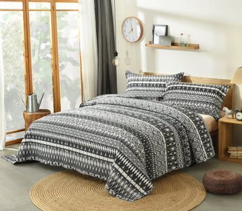 Bedspread - DaDa Bedding Aztec Geometric Stripes Quilted Coverlet Bedspread Set - Black & White Print (C14800-1)