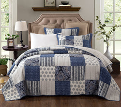 BEDSPREAD - DaDa Bedding Bohemian Denim Blue Elegance Patchwork Cotton Bedspread Set (JHW-660) - DaDa Bedding Collection