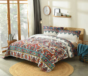 DaDa Bedding Bohemian Earthy Meadow Quilted Bedspread Set - Multi-Colorful Floral Paisley (160553-9) - DaDa Bedding Collection