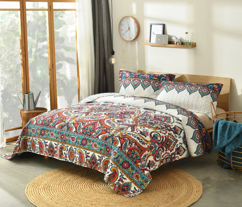 Bedspread - DaDa Bedding Bohemian Earthy Meadow Quilted Bedspread Set - Multi-Colorful Floral Paisley (160553-9) - DaDa Bedding Collection