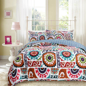 BEDSPREAD - DaDa Bedding Bohemian Floral Wildfire Gardens Colorful Reversible Quilted Coverlet Bedspread Set (SD3553)
