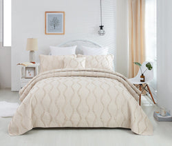 Bedspread - DaDa Bedding Bohemian Hourglass Coverlet Bedspread Set, Elegant Ivory Ruffles (JHW873) - DaDa Bedding Collection