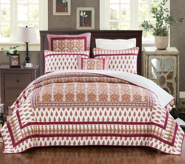 BEDSPREAD - DaDa Bedding Bohemian Moroccan Tear Drop Rubies Paisley Cotton Quilted Coverlet Bedspread Set (JHW-653)
