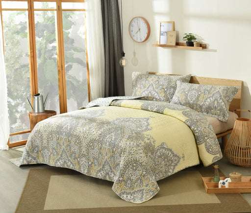 Bedspread - DaDa Bedding Bohemian Pale Daffodil Quilted Bedspread Set, Light Yellow Grey Floral Paisley (C15205-7)