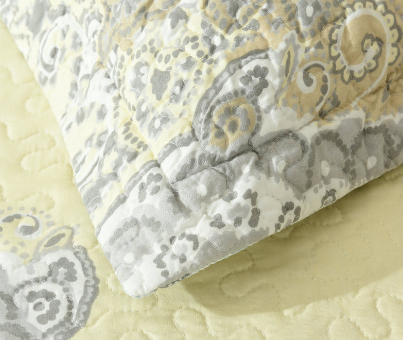 Bedspread - DaDa Bedding Bohemian Pale Daffodil Bedspread Set - Yellow Grey Floral Paisley (C15205-7) - DaDa Bedding Collection