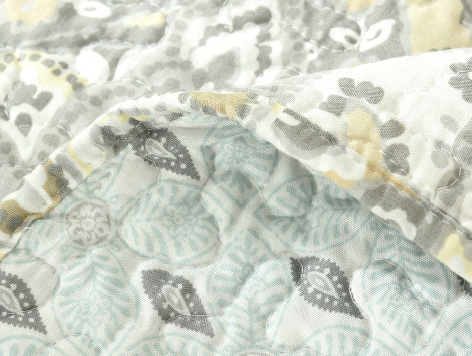 Bedspread - DaDa Bedding Bohemian Pale Daffodil Bedspread Set - Yellow Grey Floral Indian Medallion (C15205-7) - DaDa Bedding Collection