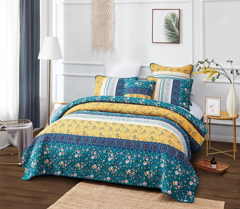 Bedspread - DaDa Bedding Bohemian Patchwork Bed of Wild Flowers Floral Garden Bedspread Set (JHW-886) - DaDa Bedding Collection