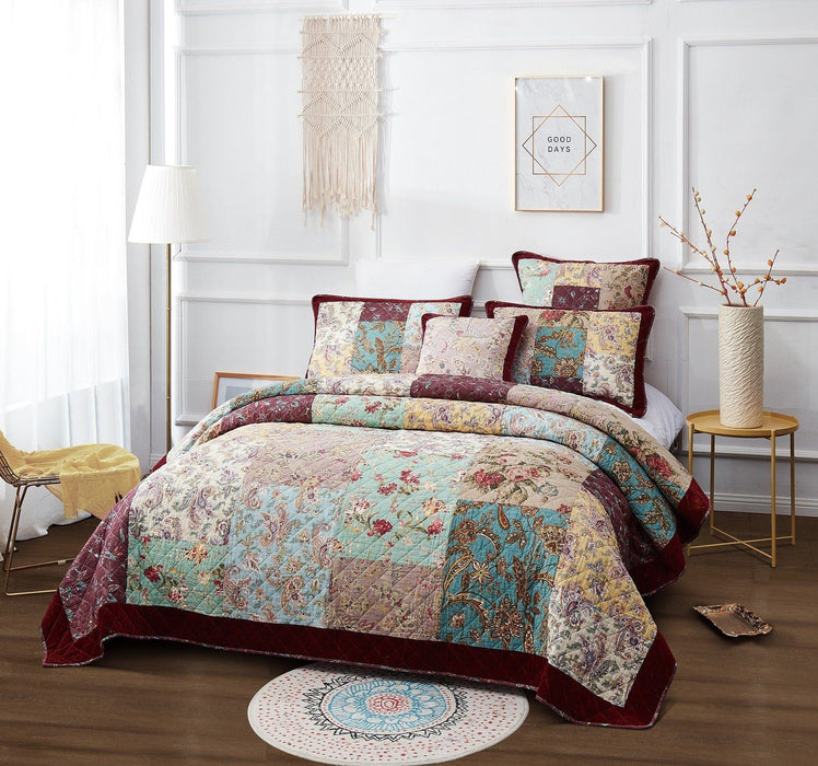 Bedspread - DaDa Bedding Bohemian Patchwork Quilted Bedspread Set, Burgundy Red Velvety Trim Floral Paisley (JHW) - DaDa Bedding Collection