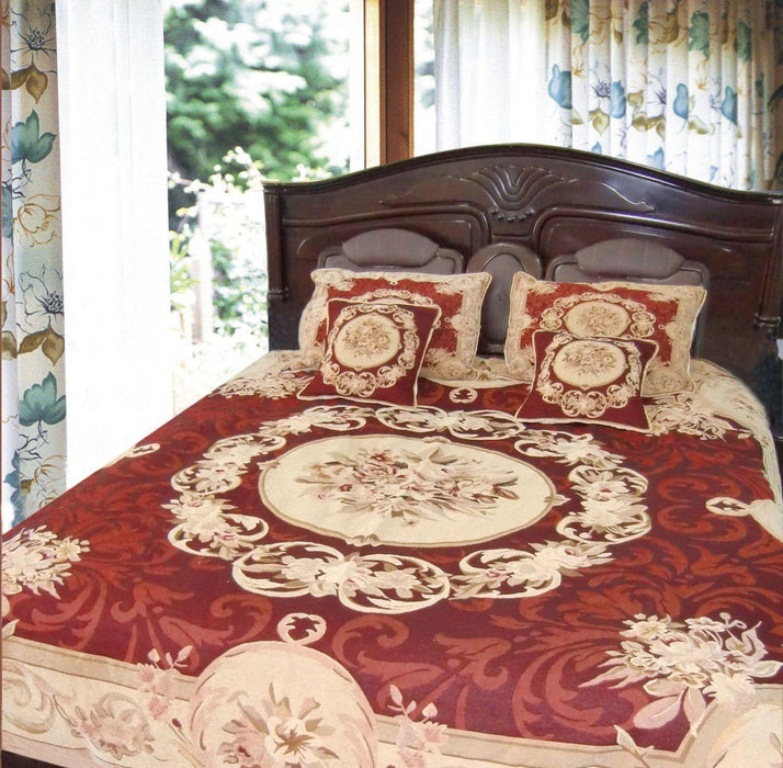 High Quality BEDSPREAD   DaDa Bedding Burgundy Golden Beige Elegant Victorian Floral  Medallion Soft Chenille Woven Tapestry Coverlet