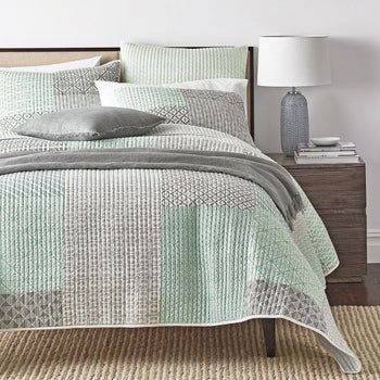 BEDSPREAD - DaDa Bedding Contemporary Mint Green Grey Geometric Textured Patchwork Quilted Coverlet Bedspread Set (JHW-804)