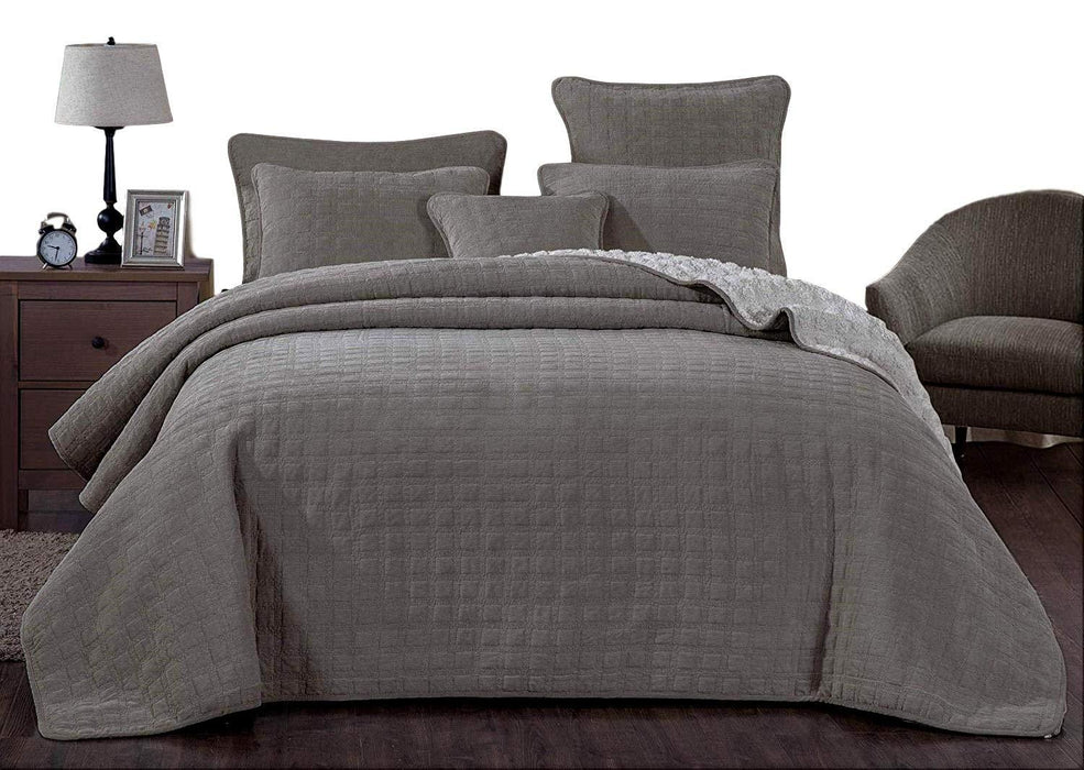 Bedspread - DaDa Bedding Corduroy Sherpa Backside Soft Grey Square Pattern Quilted Bedspread Set (JHW858) - DaDa Bedding Collection
