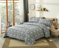 DaDa Bedding Elegant Bohemian Blue Lapis Quilted Bedspread Set - Navy Floral Star (14932-3) - DaDa Bedding Collection