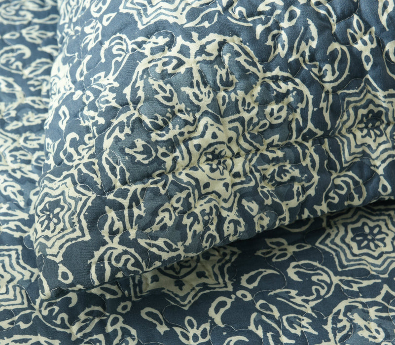 Bedspread - DaDa Bedding Elegant Bohemian Blue Medallion Quilted Bedspread Set - Navy Floral Star (14932-3) - DaDa Bedding Collection