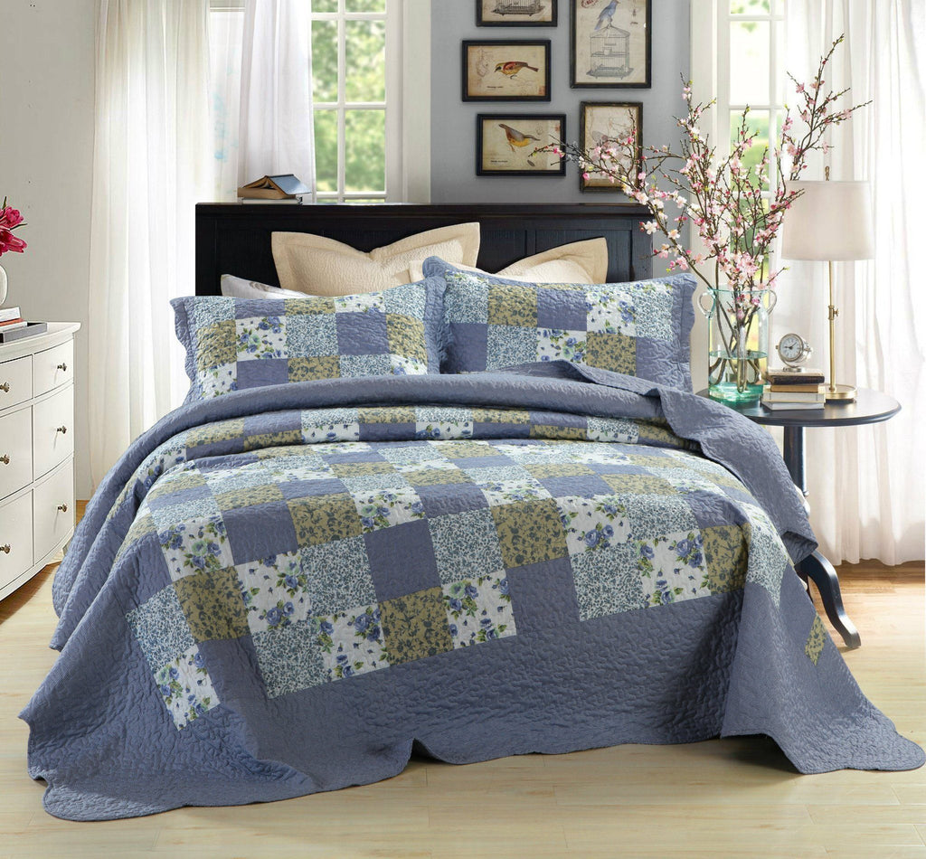 BEDSPREAD - DaDa Bedding Flannel Floral Plaid Periwinkle Blueberry Checkered Squares Reversible Quilted Coverlet Bedspread Set - (LH1340)