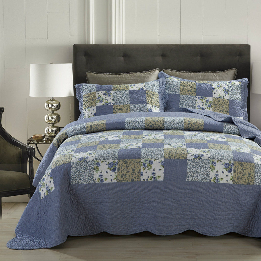 Dada Bedding Flannel Floral Plaid Periwinkle Blueberry Checkered Quilt Dada
