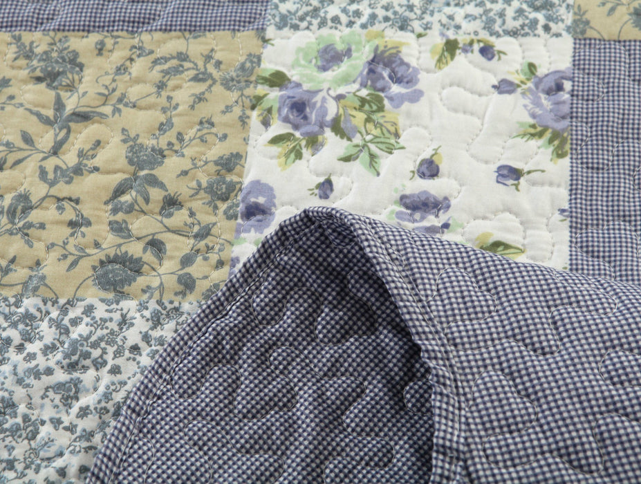 Dada Bedding Flannel Floral Plaid Periwinkle Blueberry