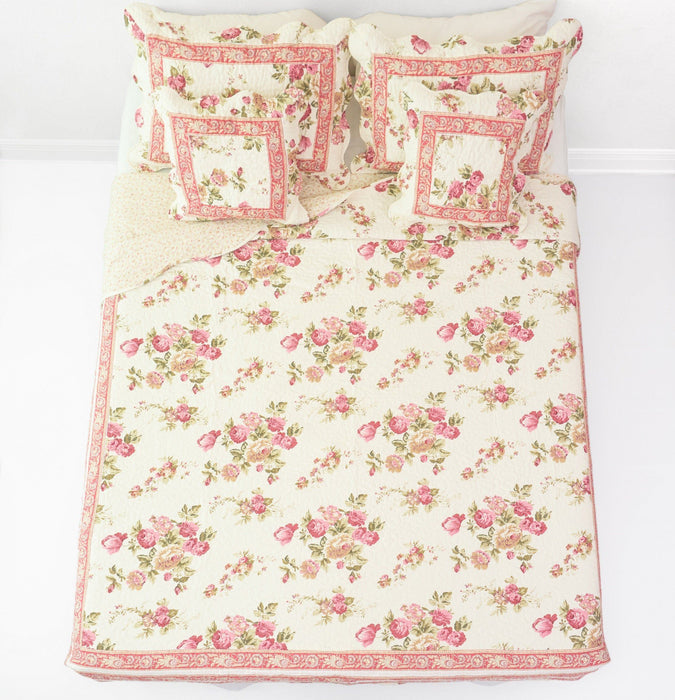BEDSPREAD - DaDa Bedding French Country Cottage Floral Mauve Cotton Patchwork Quilted Bedspread Set (DXJ103136) - DaDa Bedding Collection