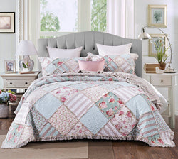 DaDa Bedding Hint of Mint Floral Pastel Cotton Patchwork Ruffle Bedspread Set (JHW-3036) - DaDa Bedding Collection