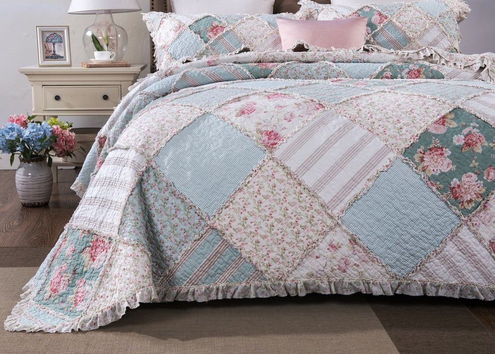 Bedspread - DaDa Bedding Hint of Mint Floral Pastel Cotton Patchwork Ruffle Bedspread Set (JHW-3036) - DaDa Bedding Collection