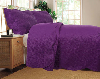 BEDSPREAD - DaDa Bedding Midnight Vineyard Solid Purple Thin & Lightweight Quilted Coverlet Bedspread Set (LH188)