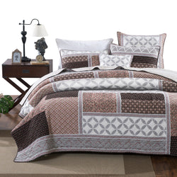 Bedspread - DaDa Bedding Neapolitan Roses Patchwork Geometric Quilted Bedspread Set (JHW816)