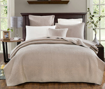 BEDSPREAD - DaDa Bedding Neutral Beige Sand Dollar Elegant Floral Embossed Textured Quilted Coverlet Bedspread Set (JHW-585)