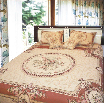 BEDSPREAD - DaDa Bedding Orange & Beige Spices Elegant Victorian Floral Medallion Soft Chenille Woven Tapestry Coverlet Bedspread Set