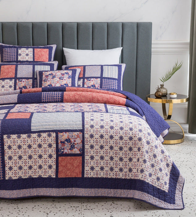 Bedspread - DaDa Bedding Patchwork Quilted Bedspread Set, Pink Cherry Blossom Floral Plum Purple - Designed in USA (JHW877) - DaDa Bedding Collection