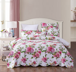 Bedspread - DaDa Bedding Romantic Roses Quilted Scalloped Bedspread Set, Lovely Spring Pink Floral (JHW879) - DaDa Bedding Collection