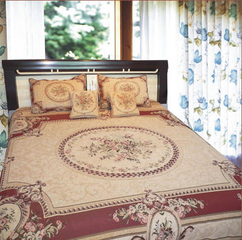 BEDSPREAD - DaDa Bedding Royal Red Elegant Victorian Floral Medallion Soft Chenille Woven Tapestry Coverlet Bedspread Set