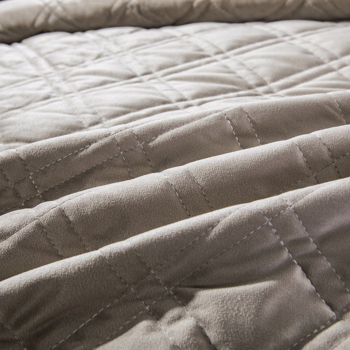 Bedspread - DaDa Bedding Velveteen Double Sided Quilted Coverlet Bedspread Set, Taupe Grey (JHW831) - DaDa Bedding Collection