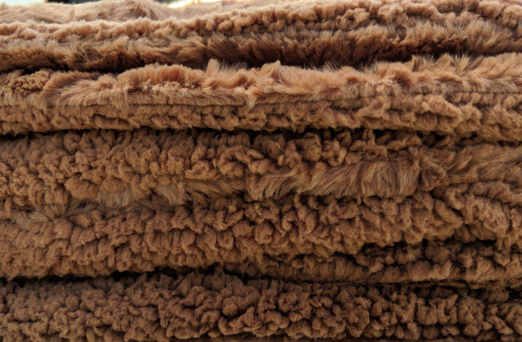 BLANKET - DaDa Bedding Luxury Solid Cinnamon Mocha Brown Faux Fur Sherpa Warm Fleece Throw Blanket (K2) - DaDa Bedding Collection