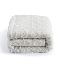BLANKET - DaDa Bedding Luxury White Roses Warm Luxe Faux Fur Sherpa Fleece Throw Blanket (K11) - DaDa Bedding Collection
