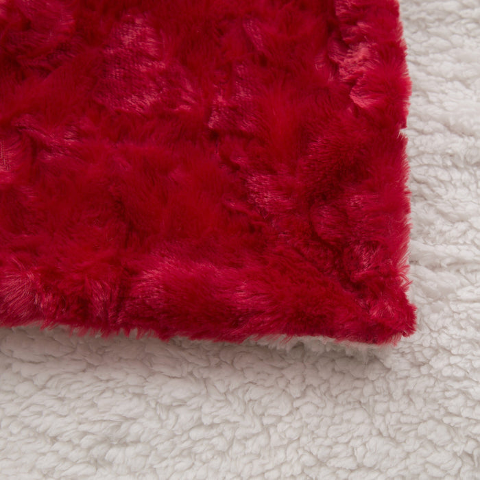 Blanket/ Throw - DaDa Bedding Luxury Hearts in Love Plush Faux Fur Sherpa Fleece Throw Blanket, Pomegranate Red (19) - DaDa Bedding Collection