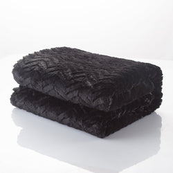 Blanket/ Throw - DaDa Bedding Luxury Midnight Black Zig Zag Plush Faux Fur Sherpa Fleece Throw Blanket (3) - DaDa Bedding Collection