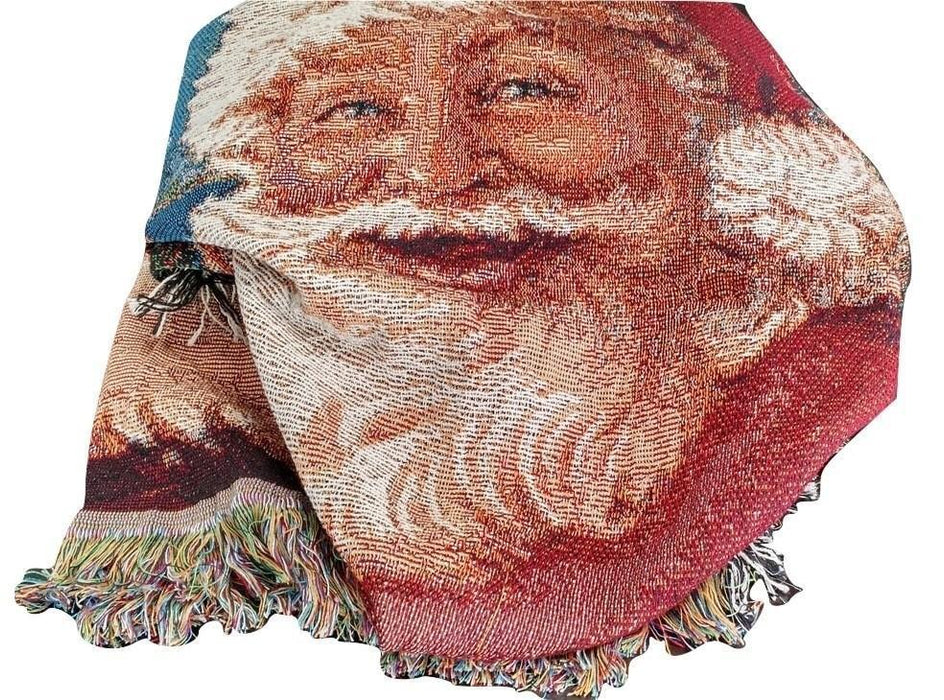 "Blanket/ Throw - Tache New 50 X 60"" Festive Christmas Old St Nick Tapestry Throw"