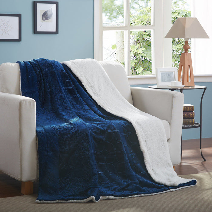 Blanket/ Throw - Tache Solid Embossed Cozy Night Blue Sherpa Throw Blanket - DaDa Bedding Collection