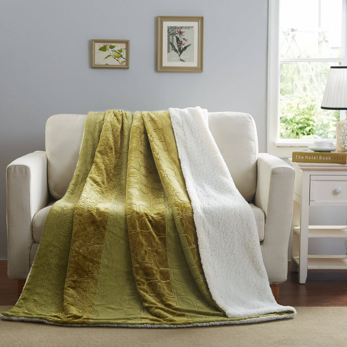 Blanket/ Throw - Tache Solid Embossed Green Olive Sherpa Throw Blanket - DaDa Bedding Collection