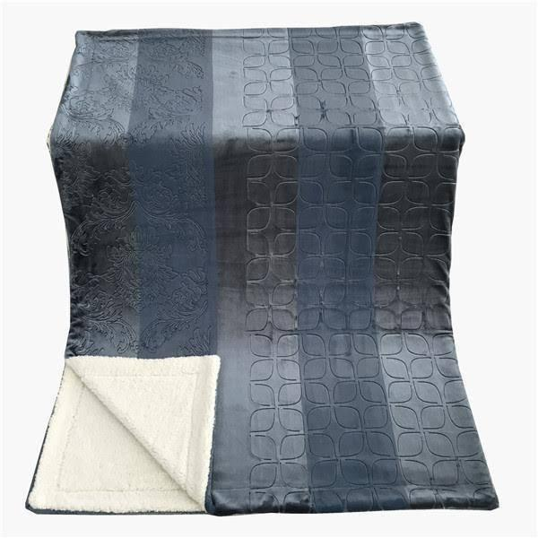 Blanket/ Throw - Tache Solid Embossed Rainy Day Grey Sherpa Throw Blanket - DaDa Bedding Collection