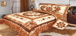 Comforter - DaDa Bedding Autumn Sunflower Medallion Ruffles Bedspread Comforter Set, Twin, 3-PCS (BM6134L) - DaDa Bedding Collection