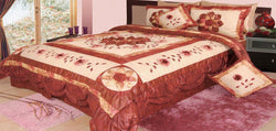 Comforter - DaDa Bedding Elegant Burgundy Red Floral Embellished Ruffles Comforter Set (BM6109L) - DaDa Bedding Collection